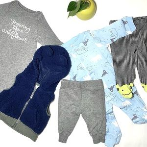 Baby Boy Sherpa Bear Vest Outfit Bundle, Newborn